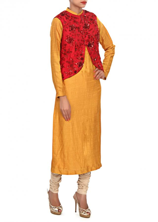 Mustard kurti matched with embroidered jacket only on Kalki