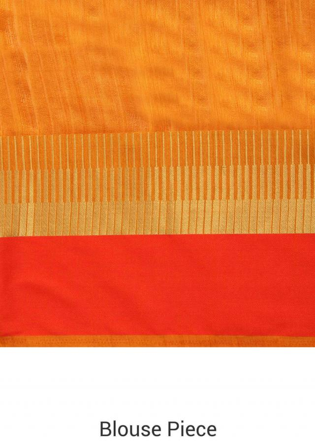 Mustard saree in multi color and gold border only on Kalki