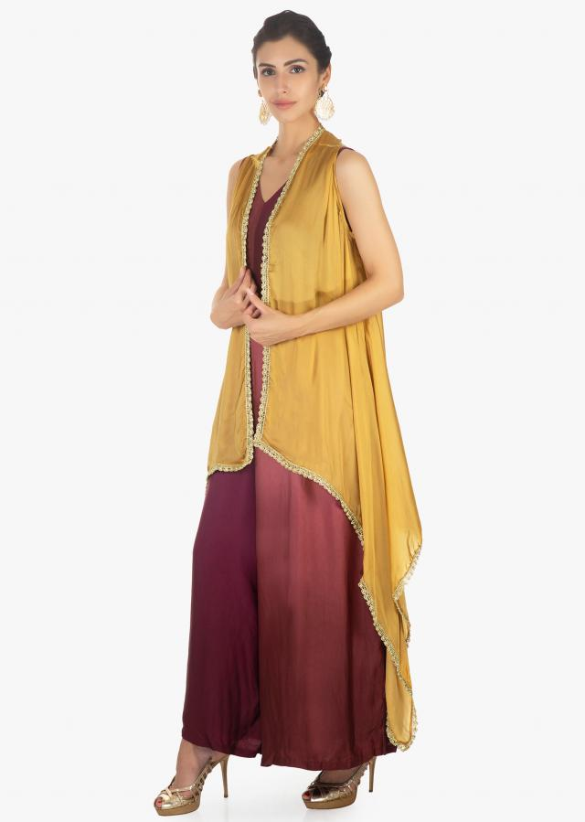 Mustard Jacket In Satin With Zari And Sequins Scallop Border Online - Kalki Fashion