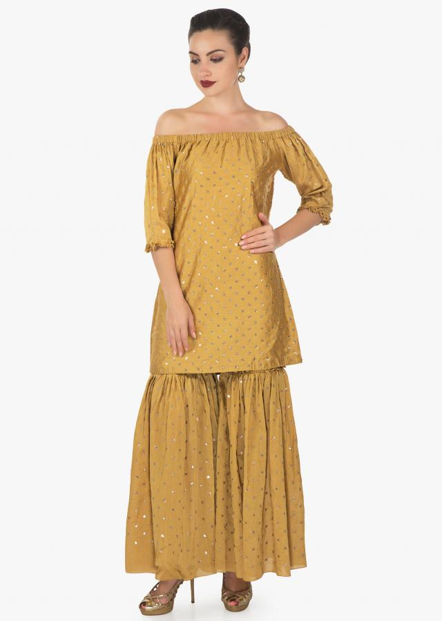 Mustard sharara and top embellished with heavy sequins work all over only on kalki