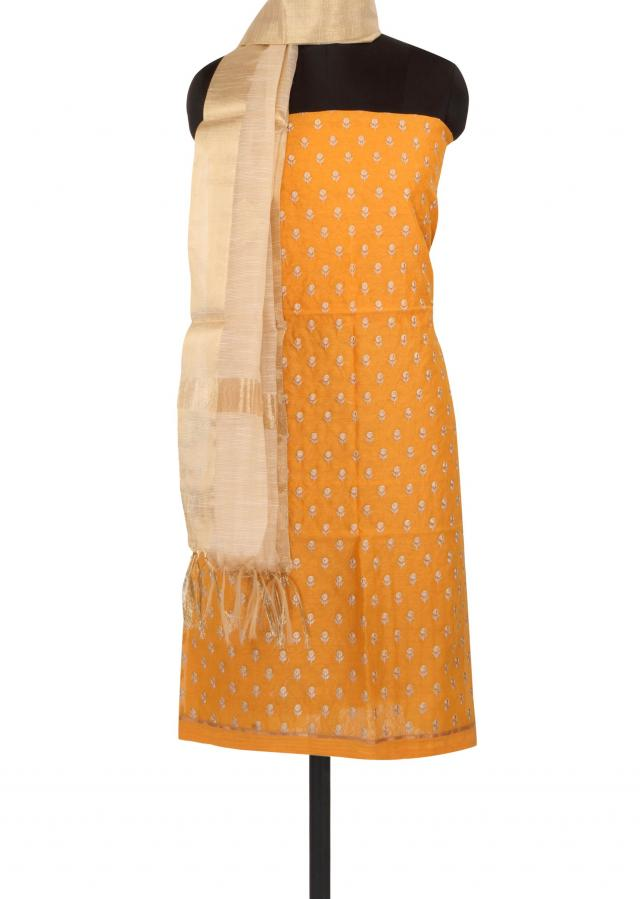 Mustard unstitched suit in resham embroidered butti only on Kalki