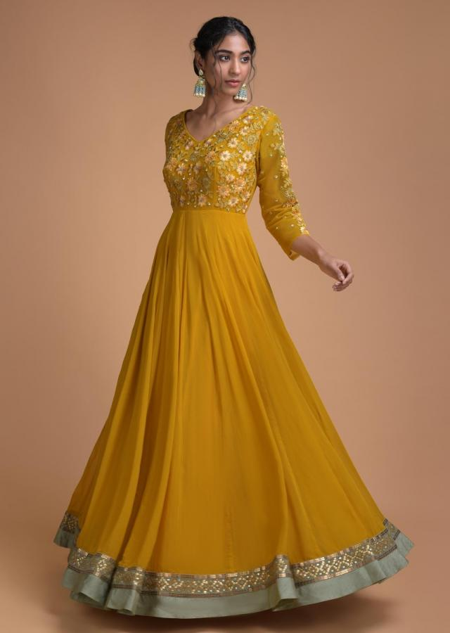 Mustard Yellow Anarkali Suit With Embroidered Bodice In Floral Pattern Online - Kalki Fashion
