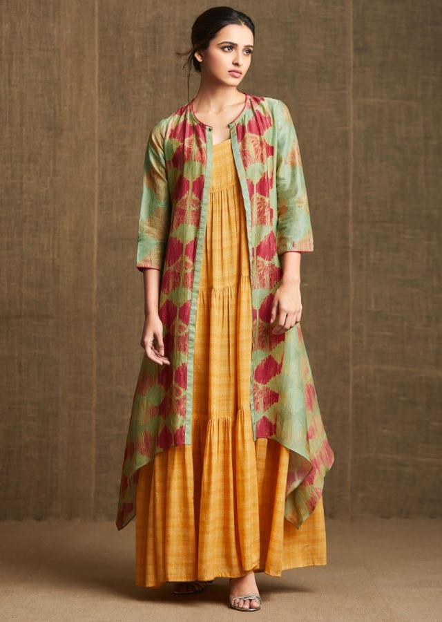 Mustard Yellow Dress In Gathers With Long Printed Jacket Online - Kalki Fashion