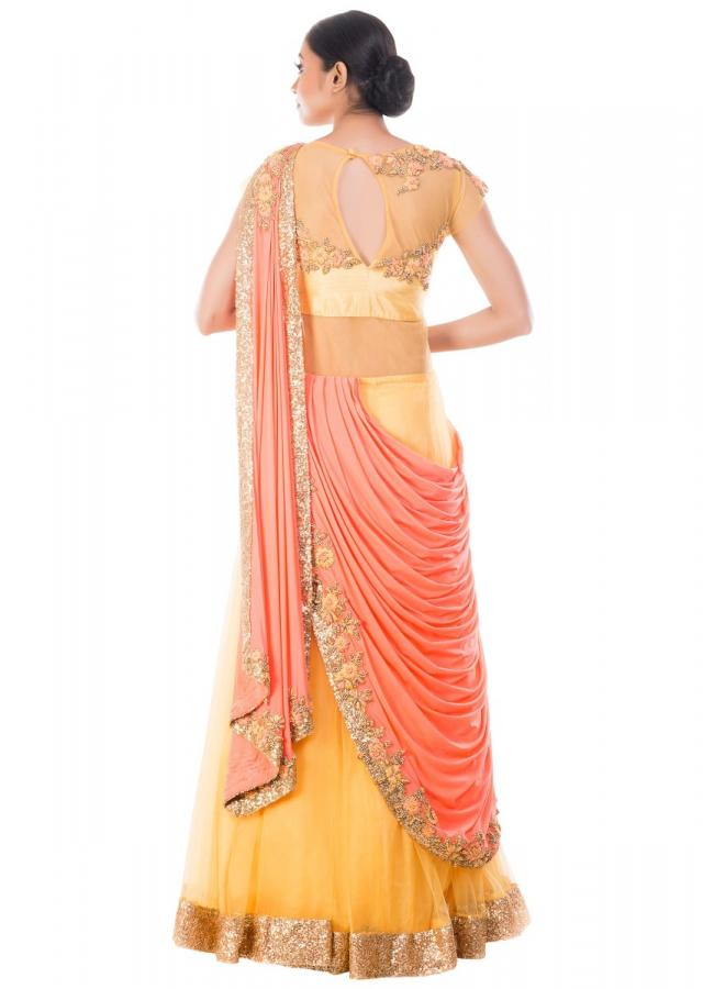 Mustard Yellow Gown With Peach Ombre Palla Online - Kalki Fashion