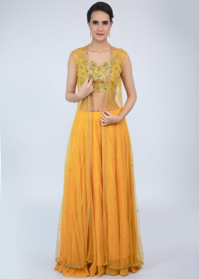 Mustard yellow palazzo with embroidered crop top and net dupatta only on Kalki