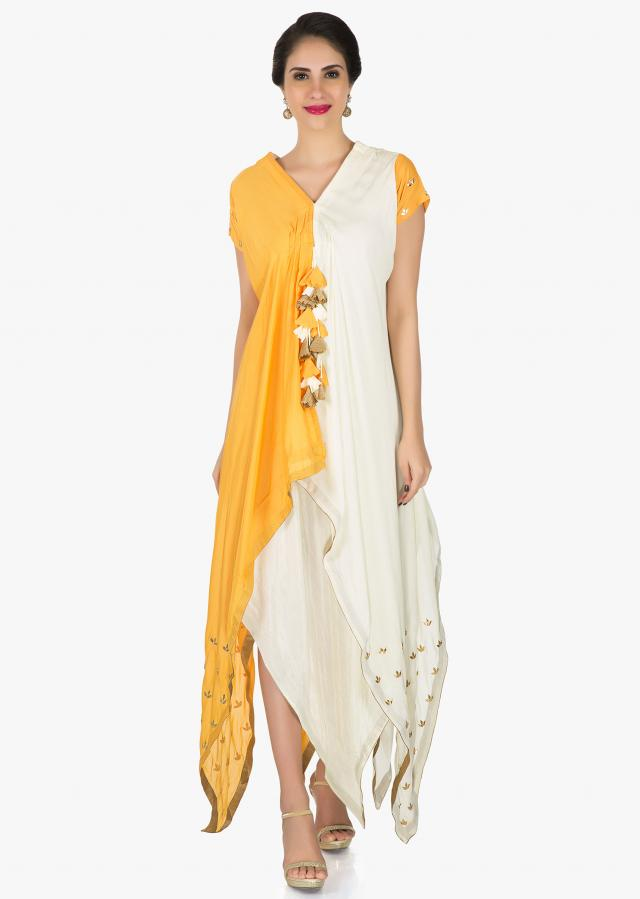 Mustard cotton tunic showcasing the gota patch embroidery work only on Kalki