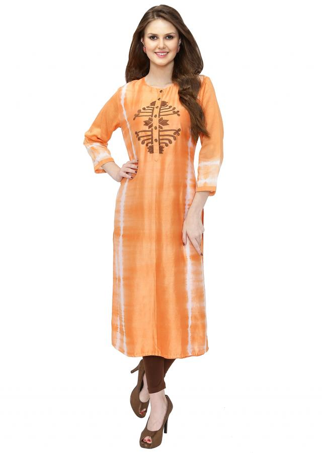 Mustard White Cotton Silk Kurta Featuring Applique Work only on Kalki