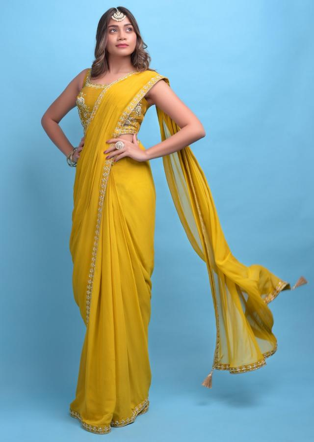 Mustard Yellow Ready Pleated Saree In Georgette With Hand Embroidered Blouse Online - Kalki Fashion