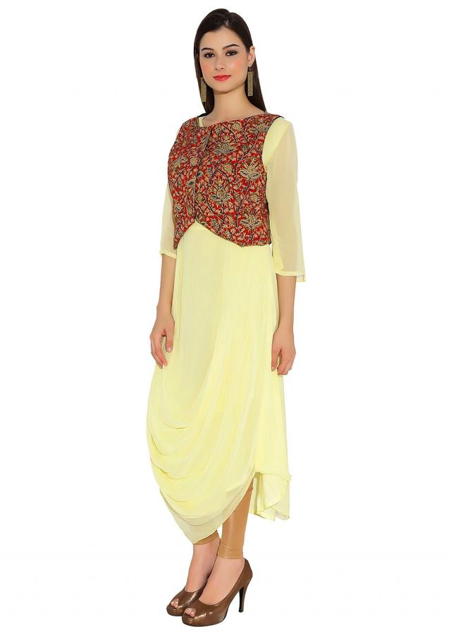 Navy Blue and Lime Yellow Georgette, Raw Silk Kurti Only On Kalki