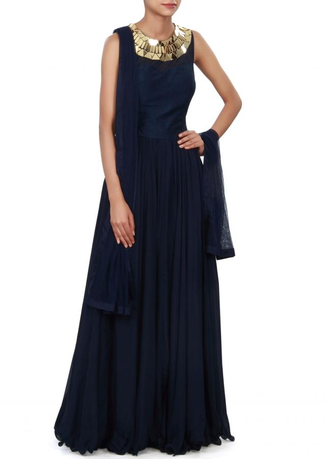 Navy blue anarkali suit adorn in embroidered neckline only on Kalki