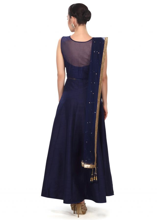 Navy blue anarkali suit adorn in zardosi embroidery only on Kalki