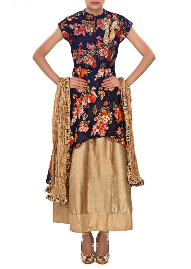Navy blue anarkali suit embellished in peacock motif embroidery only on Kalki