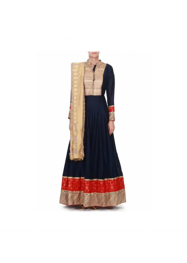 Navy blue anarkali suit embellished in resham only on Kalki