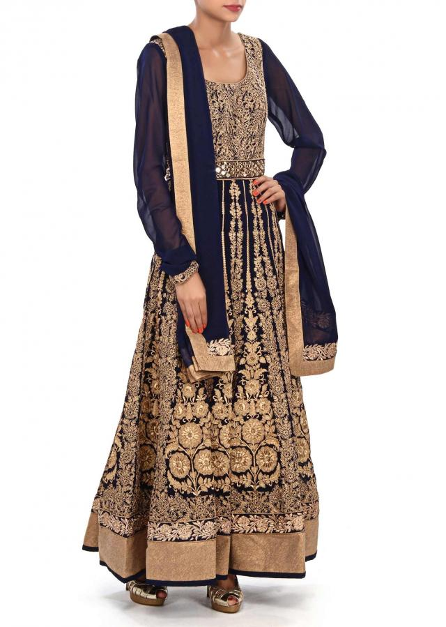Navy blue anarkali suit embellished in zari and mirror embroidery only on Kalki