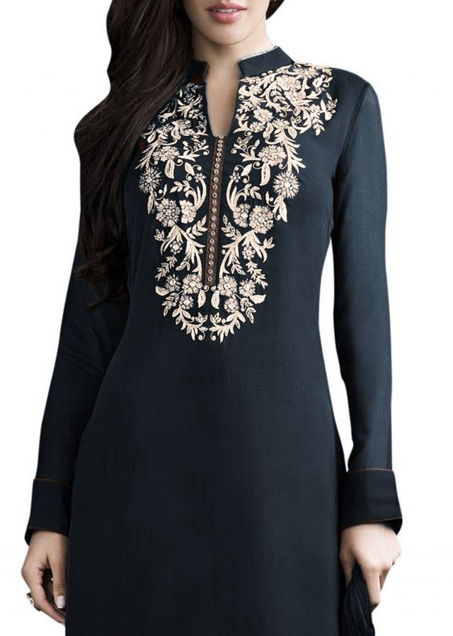 Navy blue and beige kurta with churidar pants