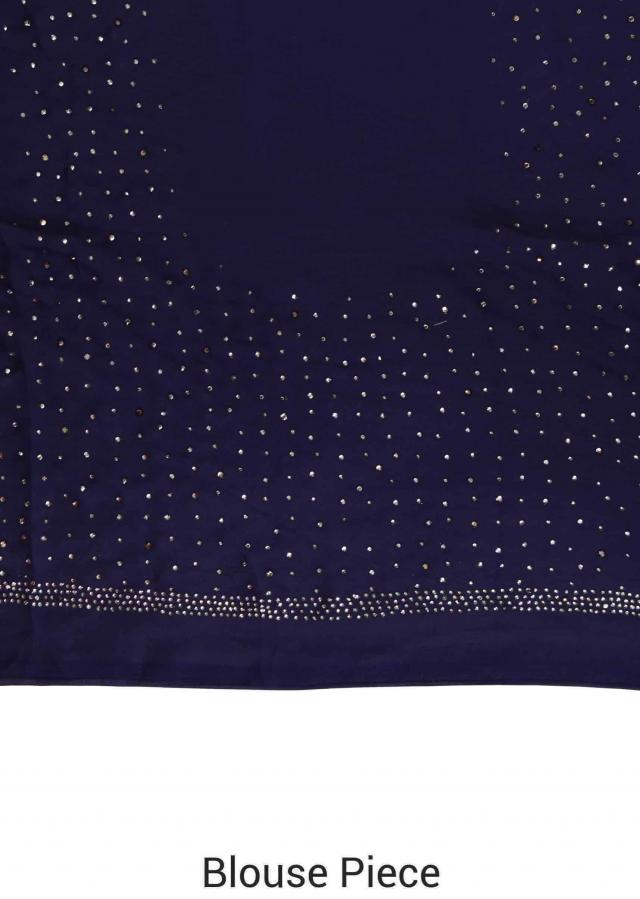 Navy blue and grey saree with kundan border only on Kalki