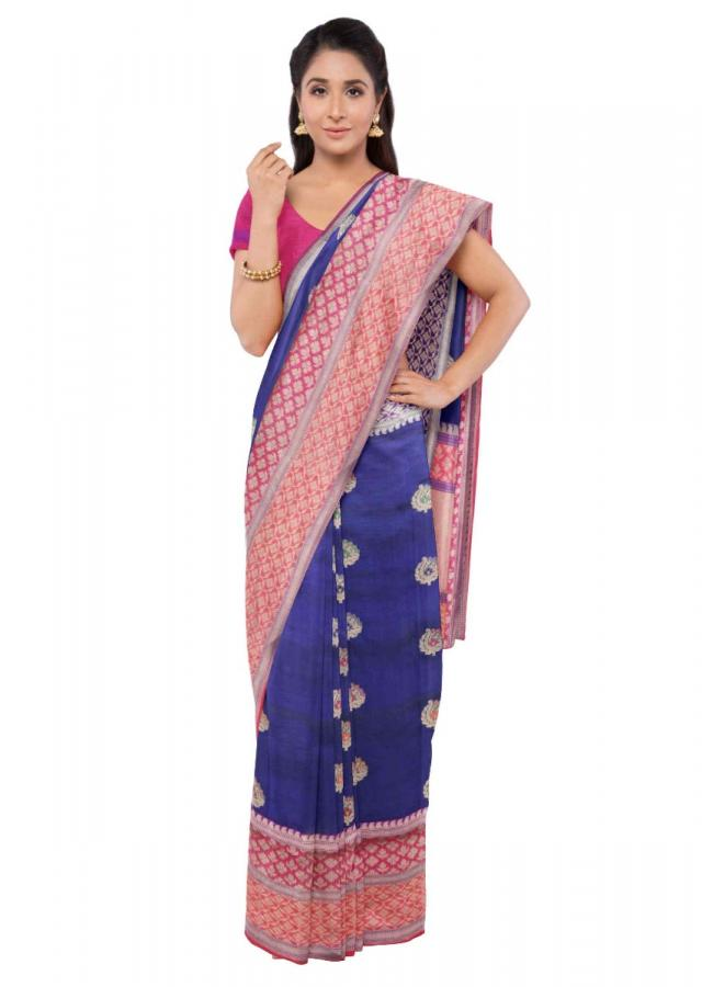 Navy Blue Saree In Banarasi Silk With Magenta Blouse Piece Online - Kalki Fashion