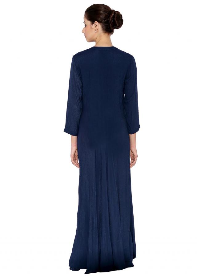 Navy Blue Cotton Kurti With Balloon Style Floor-Length Bottom And Zardosi Worked Horse Motifs At Yoke Only On Kalki