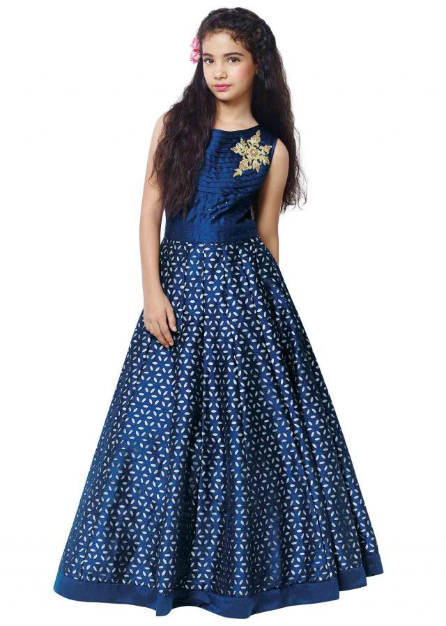 Navy blue cut work gown in zardosi butti