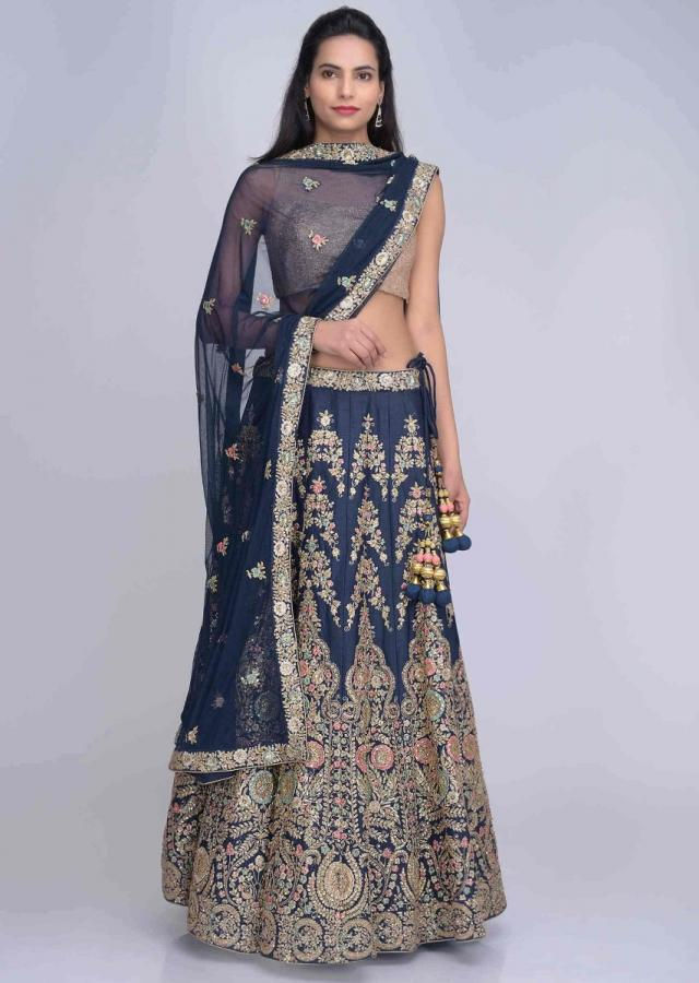 Navy Blue Lehenga Choli In Embroidered Cotton Silk With Navy Blue Net Dupatta Online - Kalki Fashion