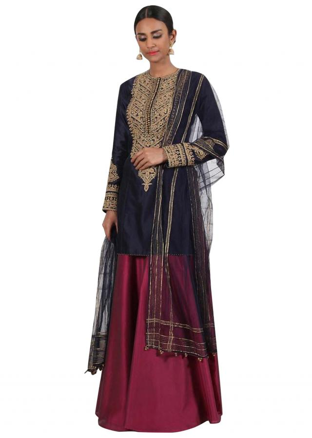 Navy blue embroidered kurti with ruby pink sharara
