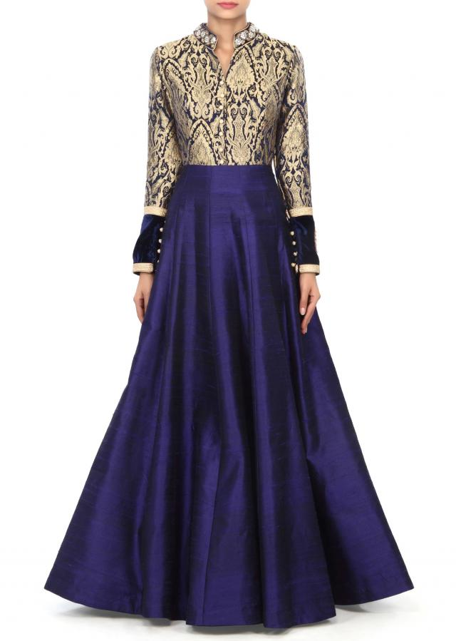 Navy blue gown adorn in brocade with embroidered collar only on Kalki