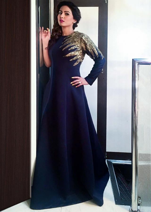 Hina Khan in kalki navy blue gown in sequin embroidered yoke