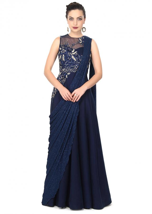 Navy blue gown enhanced in cowl drape and zardosi embroidery only on Kalki