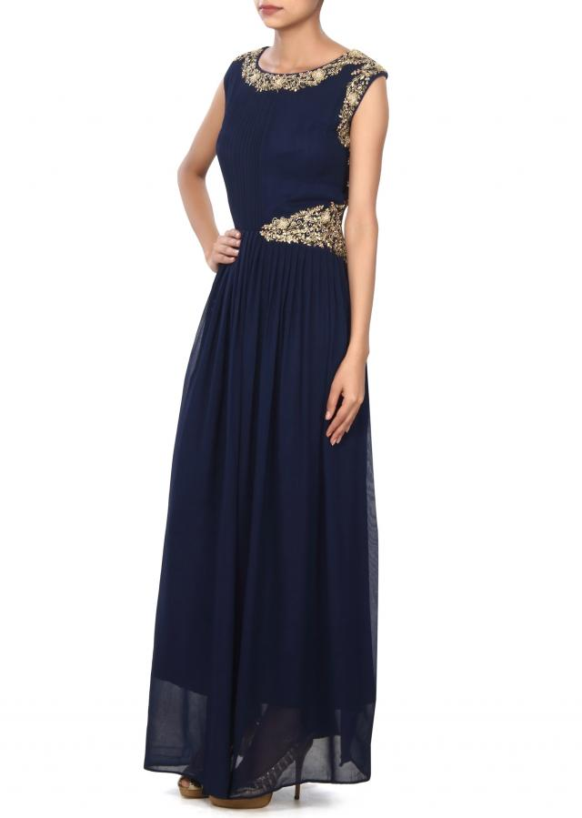 Navy blue gown enhanced in pleats and zardosi only on Kalki