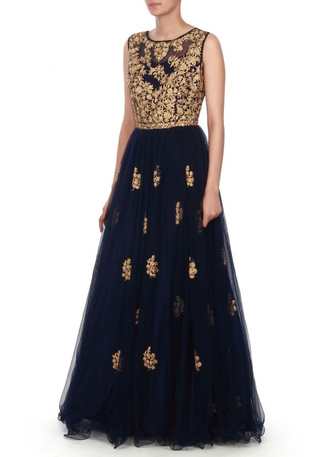 Navy blue gown in embossed zari and kundan embroidery only on Kalki