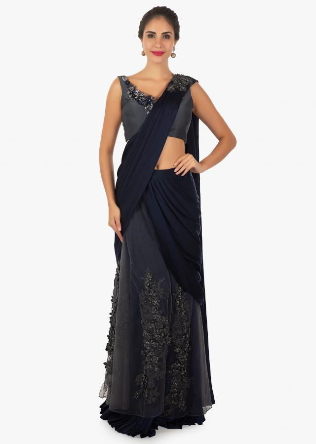 Navy blue grey net lehenga saree paired with a grey v neck  blouse only on Kalki
