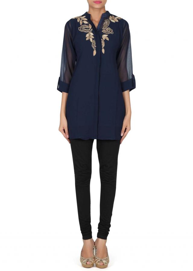 Navy blue kurti adorn in resham and kundan embroidery only on Kalki