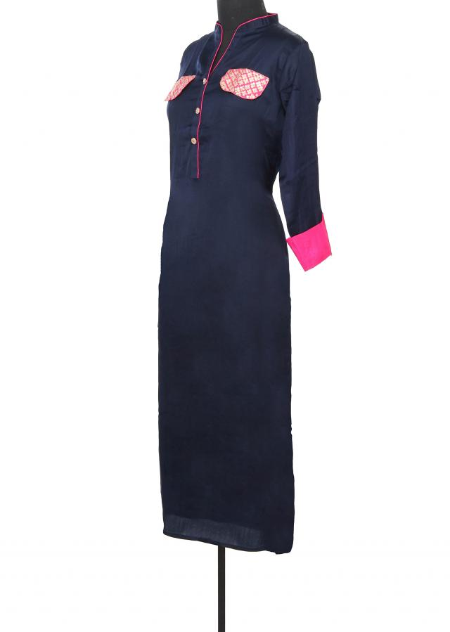 Navy blue kurti features with sequin embellished pocket only on Kalki