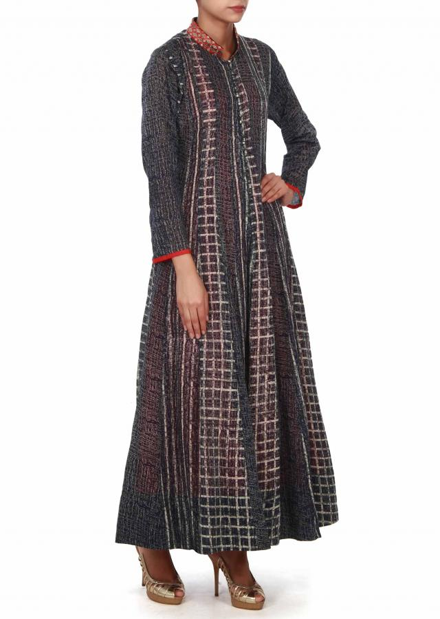 Navy blue long dress matched with embroidered collar only on Kalki