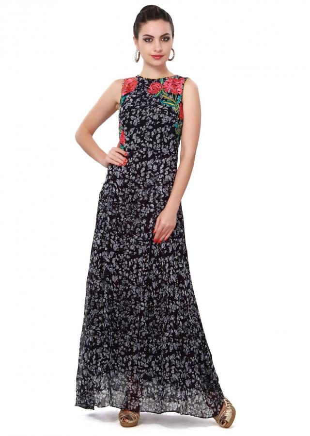 Navy blue long kurti adorn in resham embroidery only on Kalki