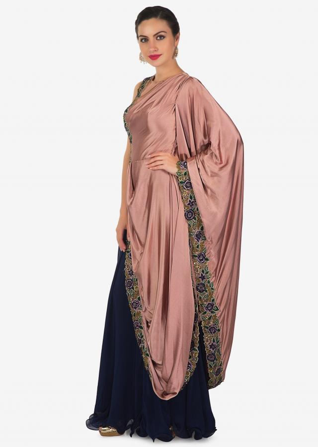 Navy Blue Mauve Satin and Chiffon Gown Featuring Resham Handwork Only on Kalki