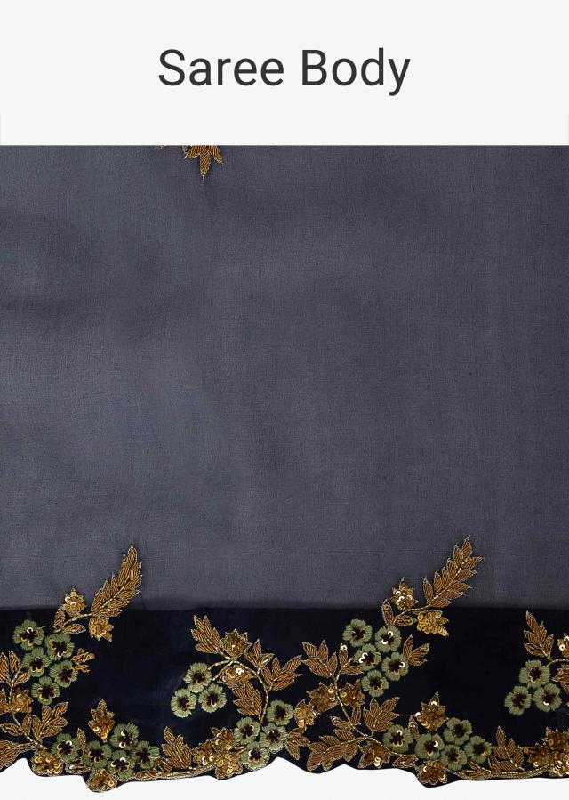 Navy Blue Saree In Organza Paired With A Contrasting Pista Green Raw Silk Blouse Online - Kalki Fashion