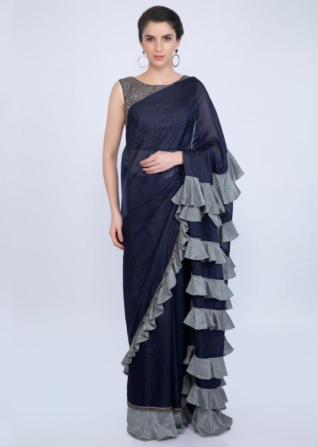 Navy Blue Organza Saree With Frilled Layers At The Pallu Online - Kalki Fashion