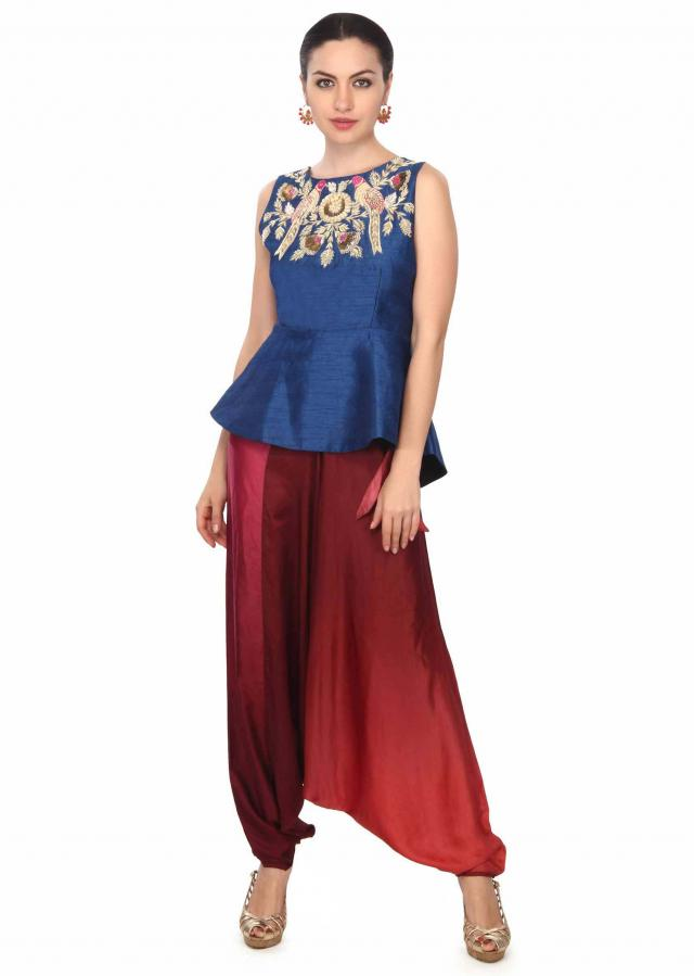 Navy blue peplum top with aladdin salwar only on Kalki