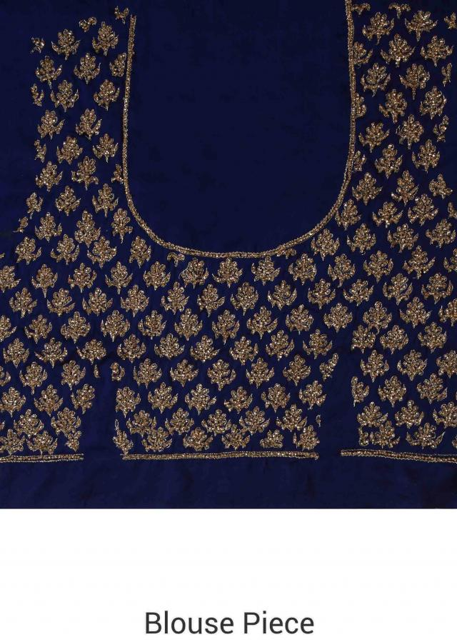 Navy blue saree embellisehd in zardosi embroidery only on Kalki
