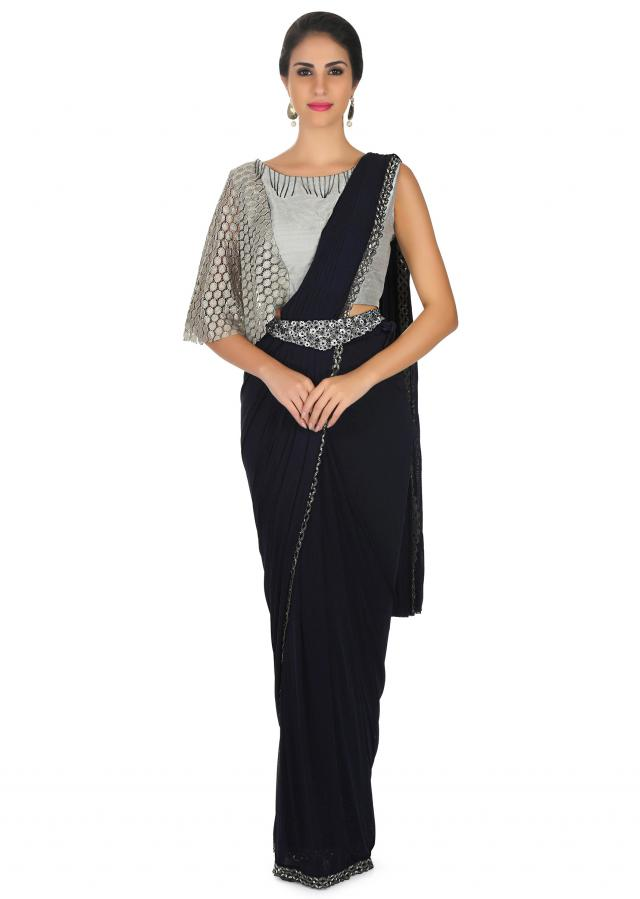 Navy blue saree features lycra with pre stitched pallav and fancy belt only on Kalki