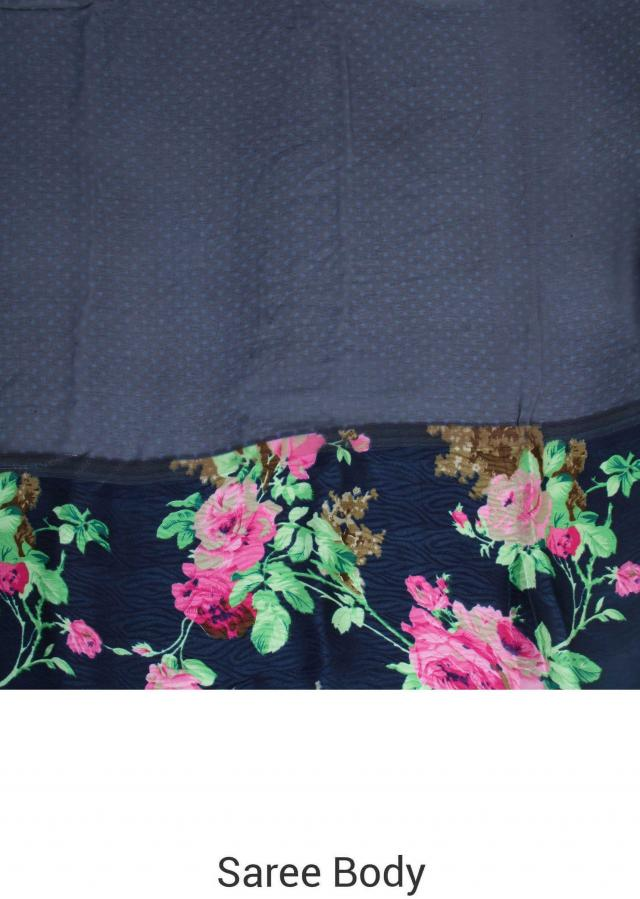 Navy blue saree in floral print only on Kalki