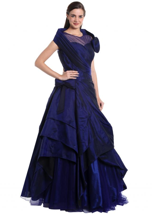 Navy blue satin silk and net gown with 3D flower only on Kalki