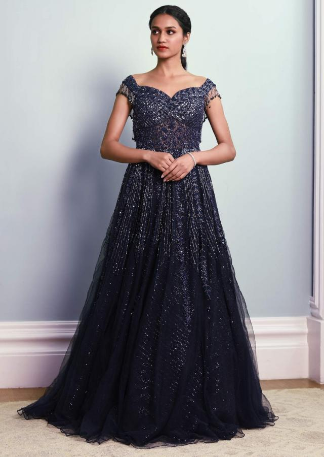 Navy Blue Sleeveless Gown In Embellished Net With Sequins Under layer Online - Kalki Fashion
