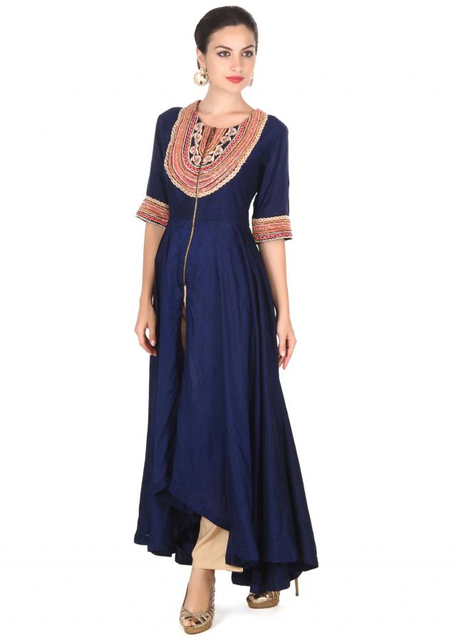 Navy blue suit in embroidered placket only on Kalki