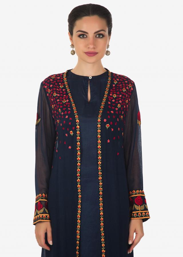 Navy blue suit matched with resham embroidered jacket and pants only on Kalki