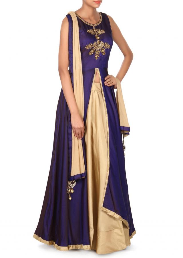 Navy blue top with beige lehenga only on Kalki