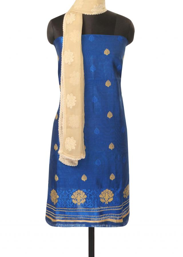 Navy blue unstitched suit adorn in resham and zari butti only on Kalki
