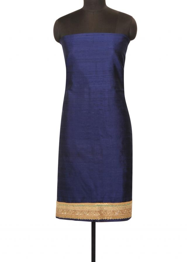 Navy blue unstithced suit with embroidered hem line only on Kalki