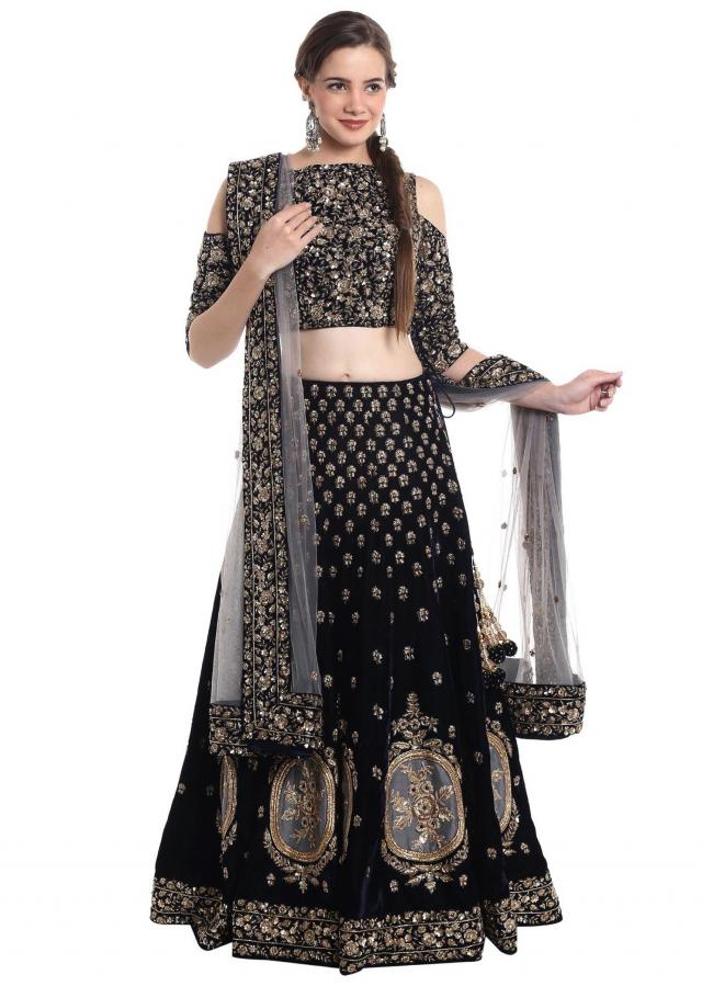 Navy blue velvet and net lehenga choli with zardosi work only on Kalki